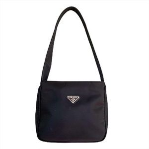 PRADA Tessuto Nylon Shoulder Purse in Black